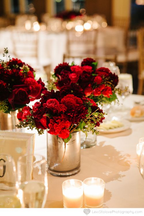 Black and red mixed arrangements in silver vase at Liberty House Restaurant wedding by Limelight Floral Design Hoboken NJ