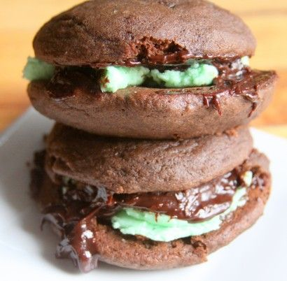 Whoopie Pies with Mint Filling and Chocolate Ganache | Tasty Kitchen ...