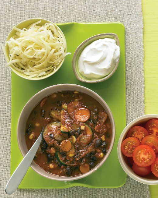 Vegetarian Black-Bean Chili #recipe -- Talk about quick comfort ...