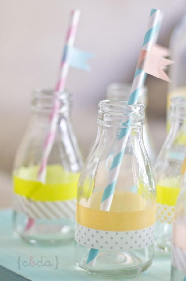 Decorate bottles and straws with Washi Tape! All designs available in the Kara's Party Ideas Shop!