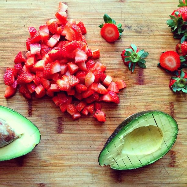 Strawberry Avocado Salsa:1/2 pint of strawberries, hulled and diced1 ...
