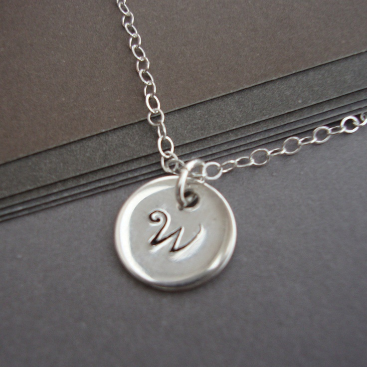 Personalized Tiny Initial Necklace Sterling Silver Sequin - Hand Stamped Tiny Drop - Layering Necklace, Perfect Gift. $22.00, via Etsy. (LOVE monogram jewelry!)