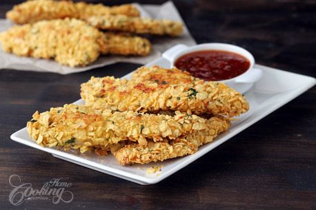 Baked Cornflake Crusted Chicken Strips :: Home Cooking Adventure