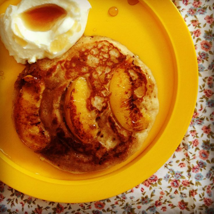 coconut peach pancakes | Baby-led weaning friendly recipes | Pinterest