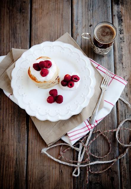 Cardamom Pancakes with Rhubarb Cream and Raspberries