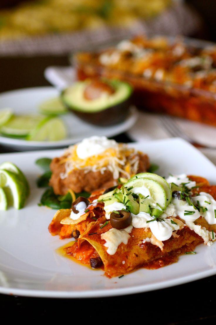 Sweet Potato and Black Bean Enchiladas | low salt for me | Pinterest