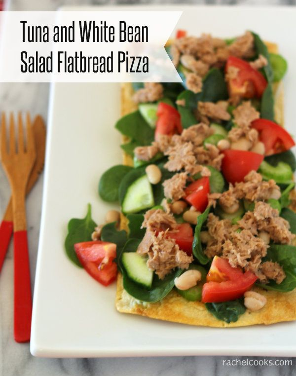 Tuna and White Bean Salad Flatbread Pizza (and a giveaway). A #healthy ...