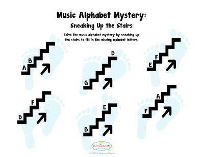 """Stepping up in the music alphabet - """"Music Alphabet Mystery - Sneaking Up the Stairs"""""""