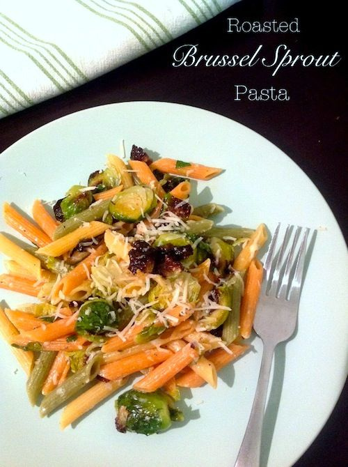 Roasted brussels sprouts pasta with lemon and parmesan. I added ...