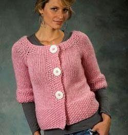 Yarn Shop - Plymouth DeAire Top Down Raglan Cardigan Knitting Pattern