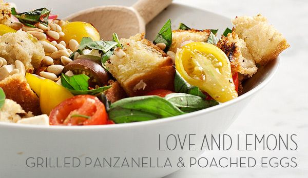 Grilled panzanella salad with poached eggs