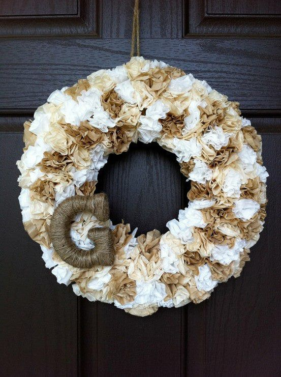 Coffee Filter Wreath   projects to do   Pinterest