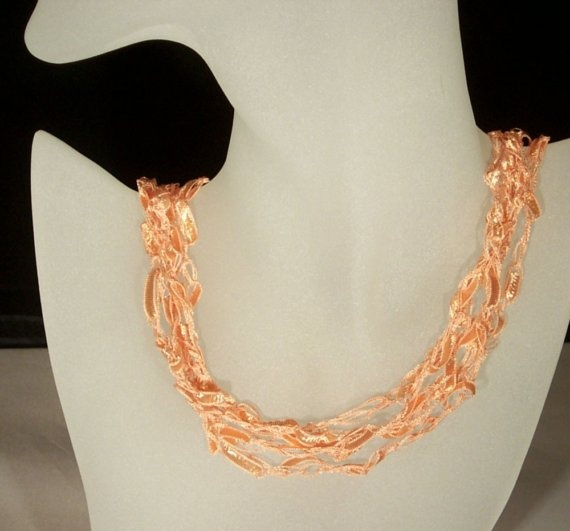 Crochet ribbon necklace Crochet/knit Pinterest