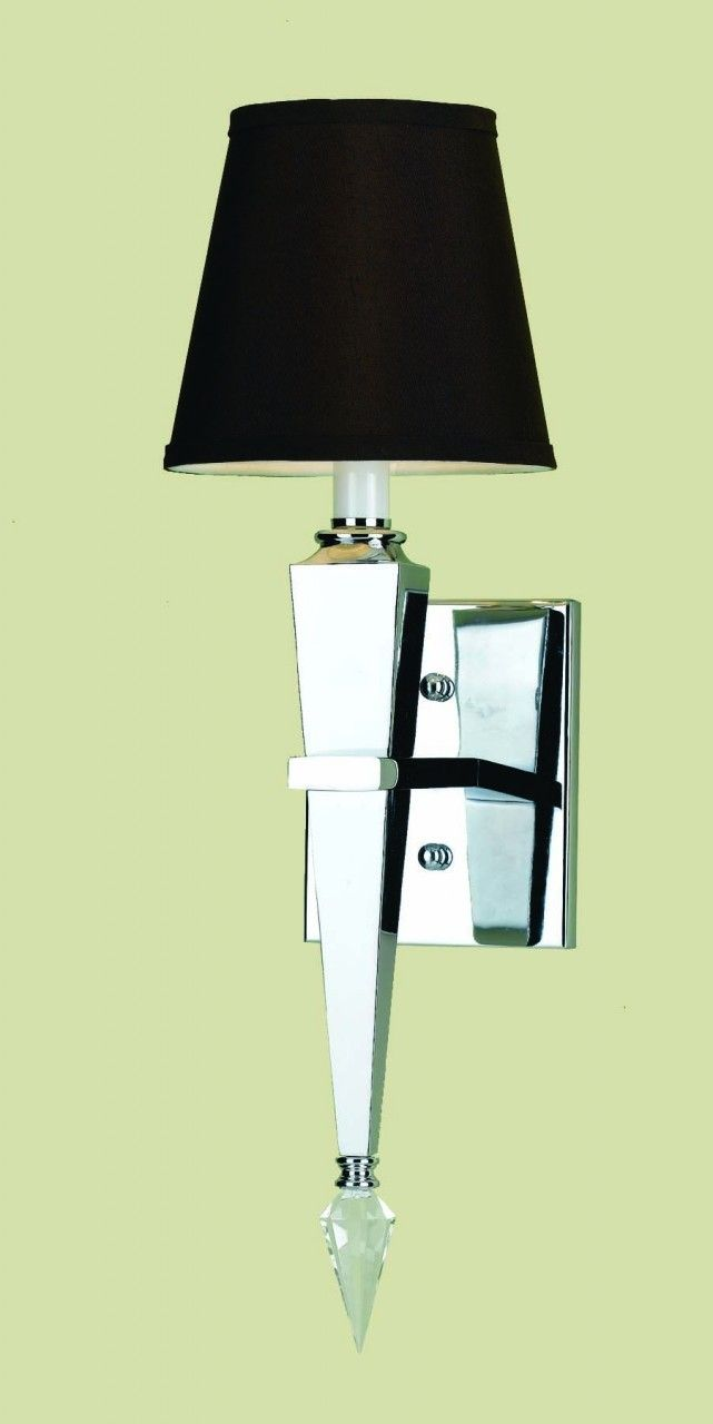 Margo 1 Light Wall Sconce Chrome Crystal Accents Amp Brown