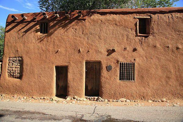 Santa fe adobe building print by frank romeo for Building an adobe house