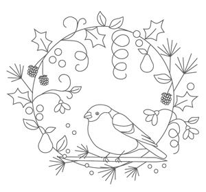 Christmas Wreath Embroidery - Pattern from The Floss Box.