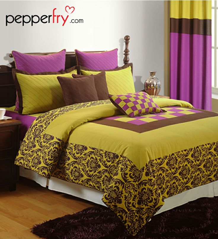 Yellow n purple printed bedding set beddings pinterest - Purple and yellow bedding ...