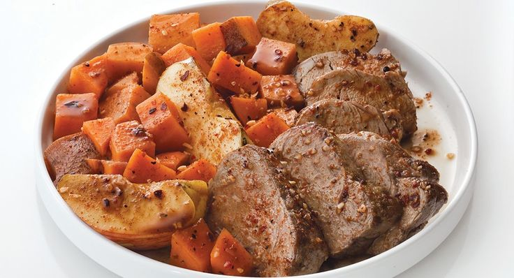 Bourbon Spiced Pork with Roasted Sweet Potatoes & Apples (We had this ...