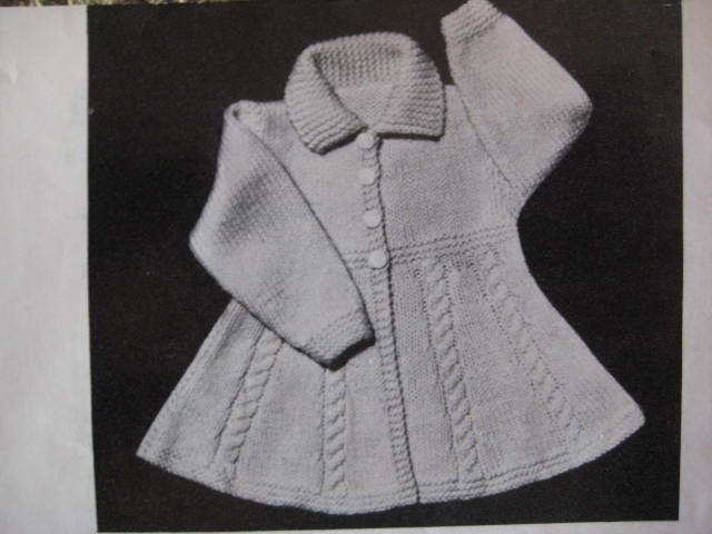Vintage Knitting Pattern Infant and Toddler Girls Flared Coat PDF Pa?