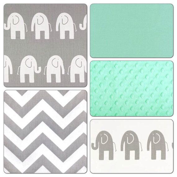 Crib Bedding Set Gray Mint Green Elephant