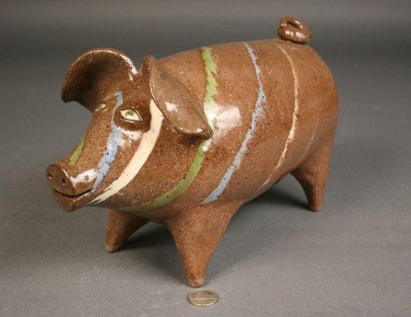 Joe Reinhardt folk pottery pig
