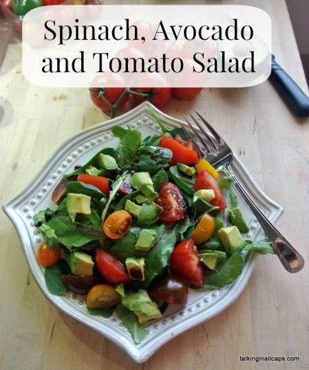 spinach avocado tomato salad   52 Salads Challenge   Pinterest
