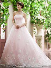 Robe de mariée de la mariée Sweep strass bretelles a-ligne