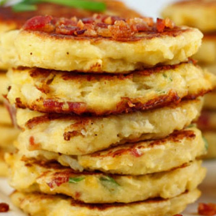 Bacon Cheddar Cauliflower Fritters Recipe — Dishmaps