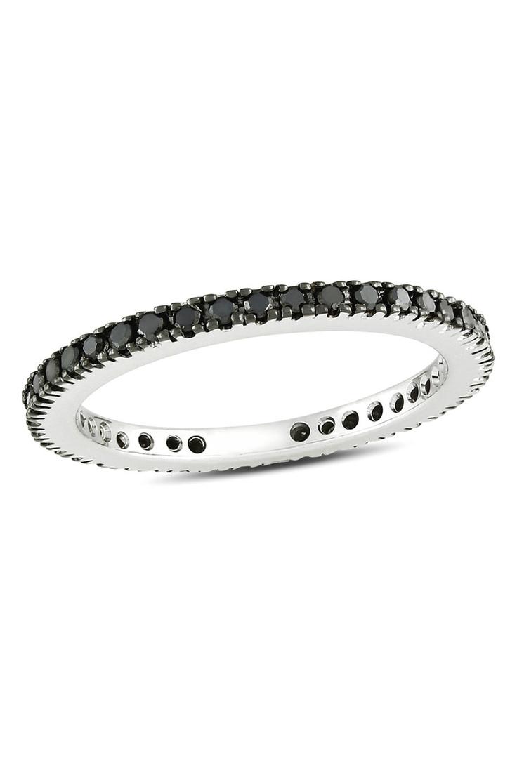 3/8 CT Black Diamond Eternity Ring In 14k White Gold