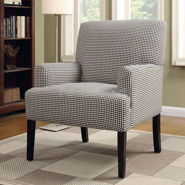 houndstooth patterned accent chair master bedroom