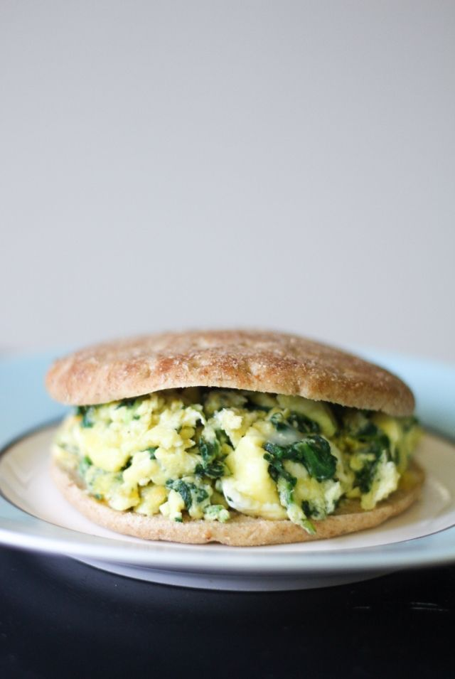 Spinach & Eggs Scramble (I made this with kale and added some sliced ...