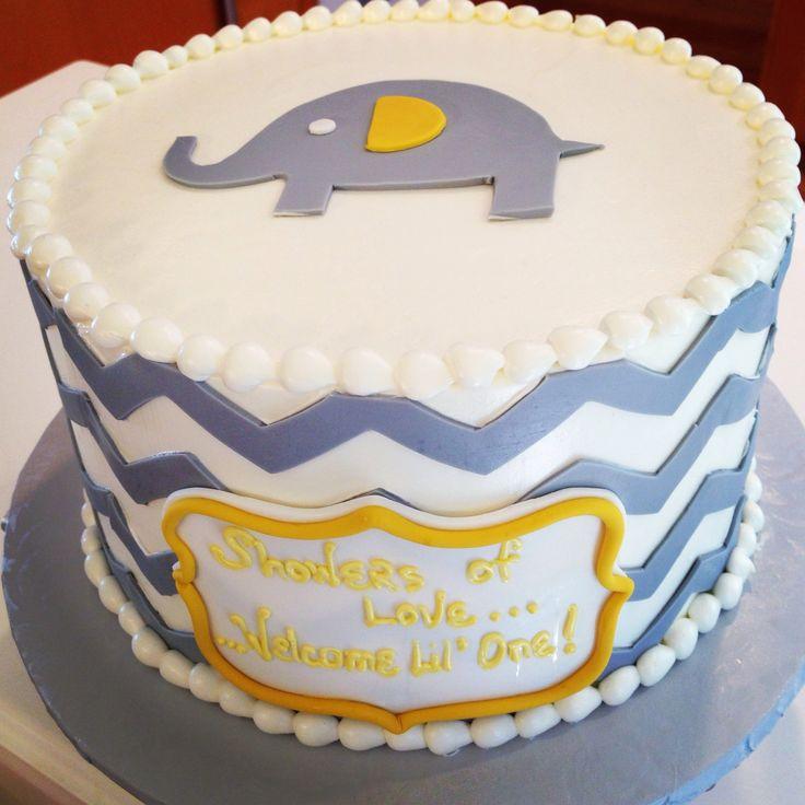baby shower cake embraced theme yellow grey chevron and elephants
