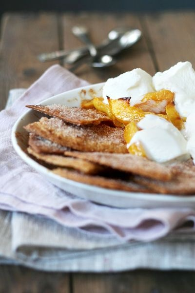 Baked Mangoes with Cinnamon Tortillas | Mangoes | Pinterest