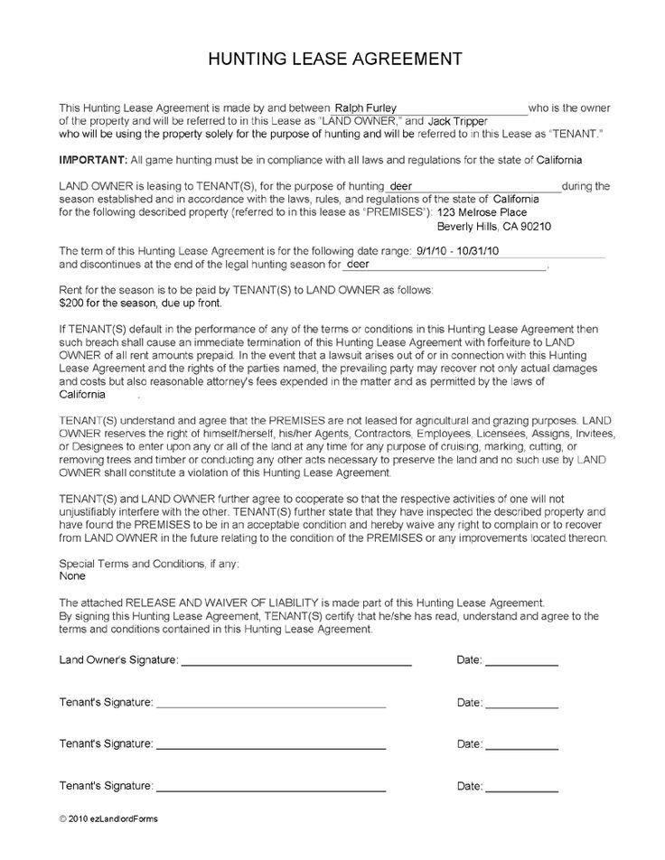 Create A Hunting Lease Agreement ($25)
