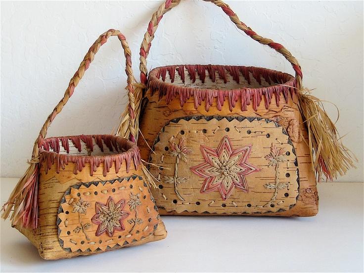 Handmade Baskets North Carolina : Vintage baskets old birch bark handmade pair