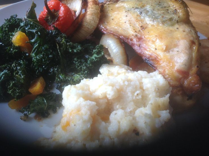 Rosemary stuffed chicken breast, with onions, kale chips with apricots ...