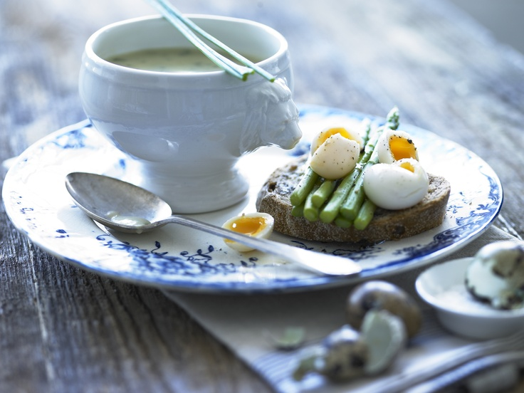 ... asparagus and soft-boiled quails eggs on wholemeal toast. Garnished