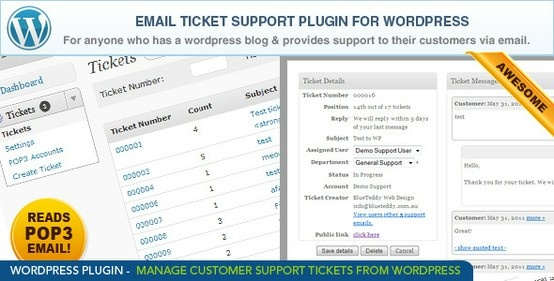 wordpress email ticket support