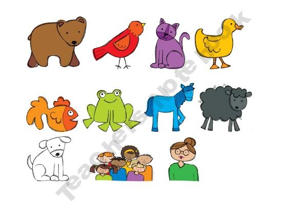 Brown Bear printables to use on paint sticks for story retelling}