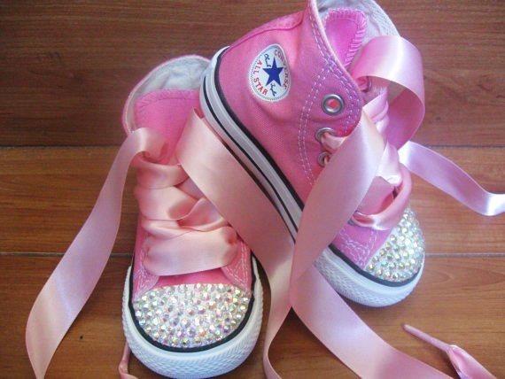baby pink rhinestone converse