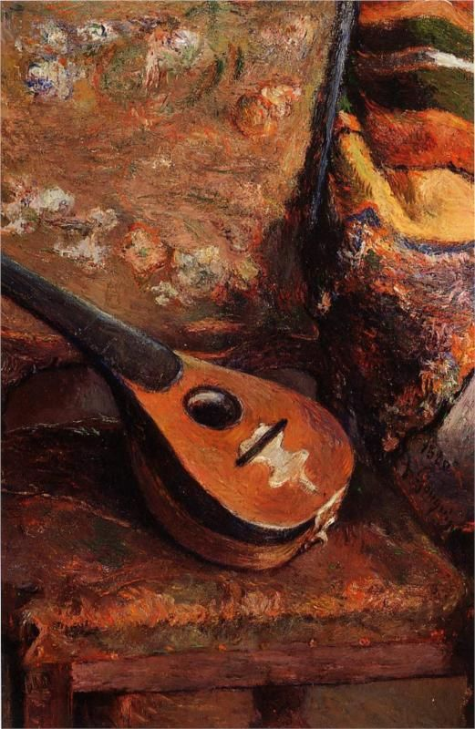 Mandolin on a chair by Paul Gauguin