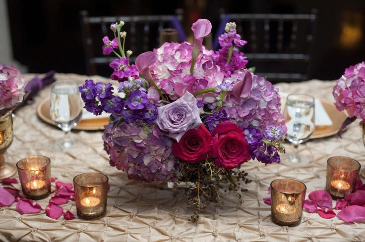 purple flowers w/ champagne