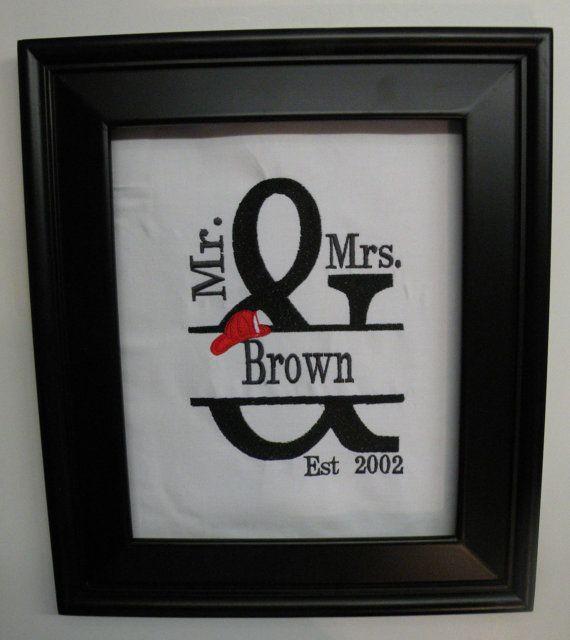 Personalized Firefighter Fire Man Wedding Gift FRAMED Mr And MRs Fir