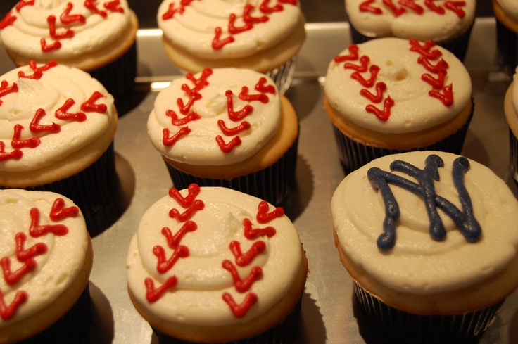 Yankees/baseball cupcakes for my son's 9th birthday . . .