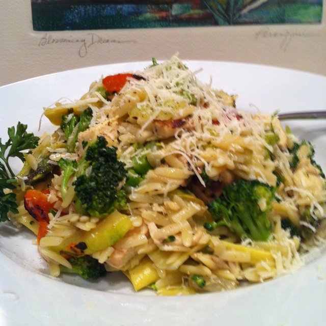 "Grilled Chicken & Vegetable Orzo. Great warm or as a ""salad"". R..."