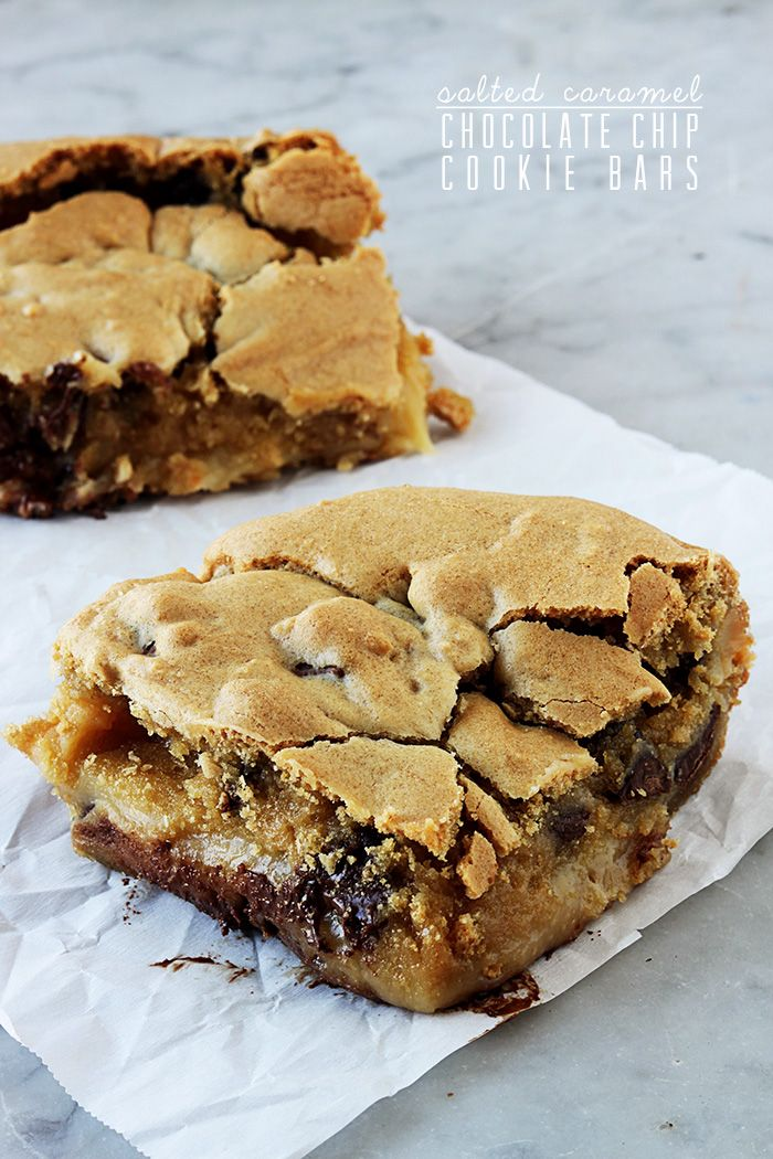 ... chocolate chip cookie bars with an ooey gooey caramel chocolate center
