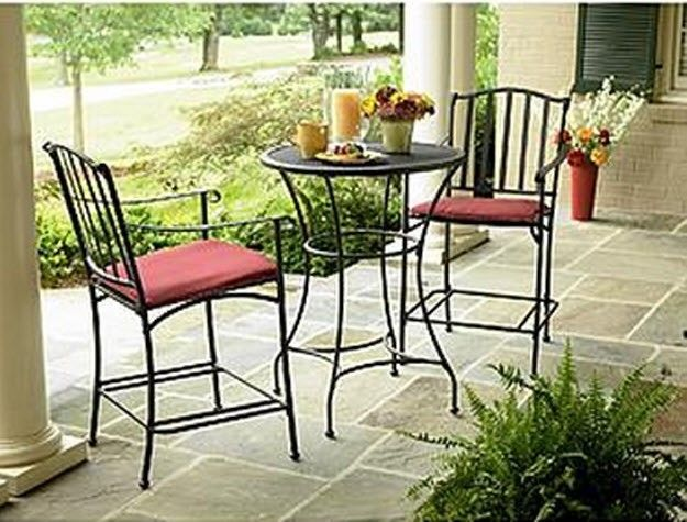 Wrought Iron Patio Deck Garden Furniture Bistro Set Outdoor Pool Dini…