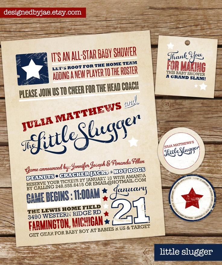 baby boy shower invitation little slugger baseball sports