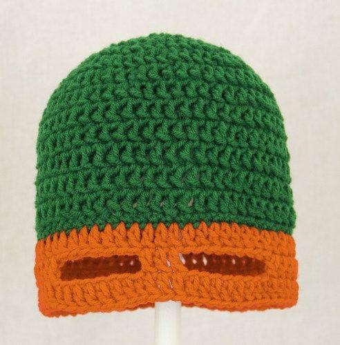 Free Crochet Pattern Ninja Turtle Mask : TMNT Mask Hat in Orange, Green Crochet Ninja Turtle Mask ...
