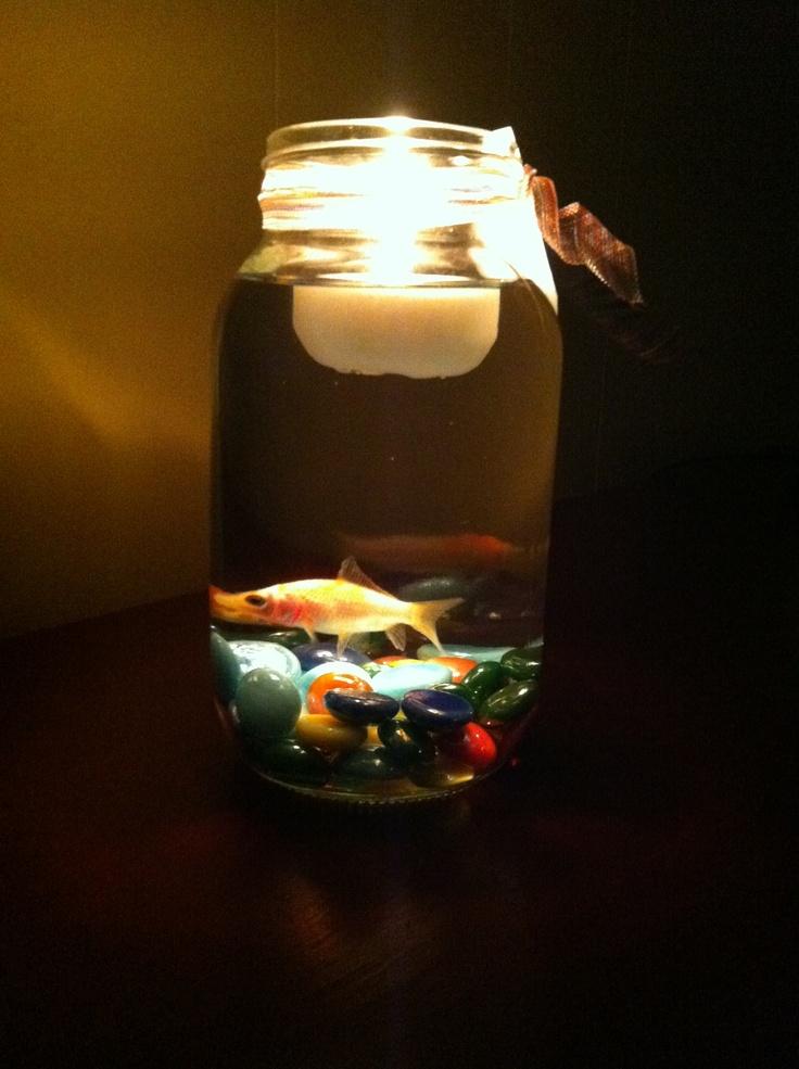 Mason jar fish centerpieces mason jar pinterest for Fish in a jar